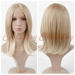Wholesale Long Blonde Cosplay - 100% New High Quality Fashion Picture full lace wigs Hot Women Anime Cosplay Medium Long Wig Short Straight Blonde Wig Synthetic Hair