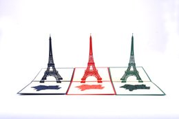 Wholesale Handmade Souvenirs - Wholesale-Eiffel Tower La Tower in pop up greeting card   handmade France souvenir Free shipping
