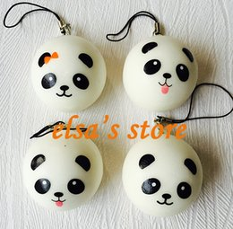 Wholesale Pendant For Mobile Phone - squishies wholesale 60pcs squishy kawaii panda squishy lot kids squeeze toys lanyard for keys strap for mobile phone pendant Free Shipping
