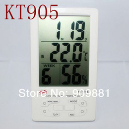 Wholesale Thermo Hygrometer Digital Clock - LCD Digital Outdoor Indoor Thermometer Hygrometer Weather Station Thermo-Humidity Meter With Clock Calendar Alarm KT-905 Free Shipping
