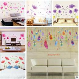 case di fiori Sconti Adesivo da parete rimovibile con piume di fiori per la stanza del bambino Decorativo decorativo per il soggiorno