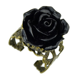 Wholesale Gothic Rings For Women - Vintage jewelry wholesale hot selling promotion bronze alloy Gothic black rhinestone rose rings for women