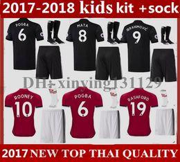 Wholesale Boys 18 - kids Kits + socks 2018 IBRAHIMOVIC POGBA Man United Home Soccer Jerseys 2017-18 Utd SCHWEINSTEIGER MEMPHIS MATA ROONEY Away Football Shirt