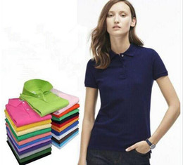 Wholesale Leopard Print Shirt Xxl - 2017 Embroidery Women Polo Shirt Slim Fit Short Sleeve High quality Pure Cotton Clothing Fashion Summer Brands Logo Woman Polo Shirts M-XXL
