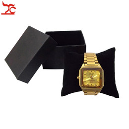 Wholesale Velvet Watch Holder Pillows - Hot Sale Jewelry Display Box 40Pcs Black Watch Box With Velvet Pillow Holder Bangle Bracelet Present Gift Boxes