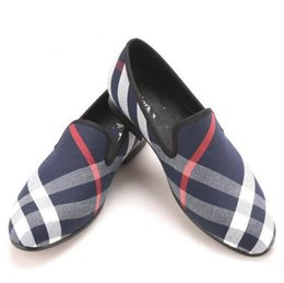 white plaid wedding dress prices - Blue and white plaid Leather shoes luxurious brand men loafers black pig leather insole men 's casual shoes men's flats