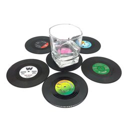 Wholesale Retro Records - Wholesale-6pcs Creative Drink Placemat Spinning Retro Vinyl CD Record Drinks Coasters quality first