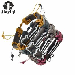 Wholesale Wholesale Guitars For Sale - Jiayiqi 4 pcs  set Hot Sale Vintage Hollow Guitar Leather Bracelet for Women And Men Jewelry Pulseira Masculina Friendship Gift