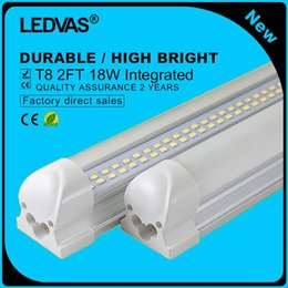 Wholesale T8 Smd Led Tube Strips - 2-Pack 18W T8 LED Tubes 2Ft LED Integrated Tube Lights Double Strips 30cm 144led Light Lamp Bulb 2feet 60cm AC85-265V