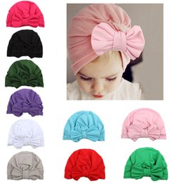 Wholesale New Indian Cute Girls - 2017 New Baby rabbit ear knotted head hat Indian hat Baby High Quality Baby Turban Soft Pink Gray Red Solid Infant Cute hat