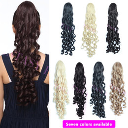 Wholesale Long Hairpieces For Women - Wholesale-light brown women long kinky curly synthetic hair extensions drawstring pony tails for short hair heat resistant hairpiece