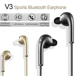 Auricular v3 online-V3 Auriculares inalámbricos Bluetooth Sports Eaphone Auriculares intrauditivos Estéreo Sonido de alta fidelidad con Micrófono Auriculares VS S6 para iPhone Samsung Xiaomi
