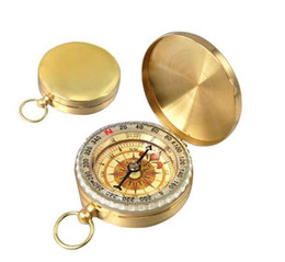 Wholesale Mini Compass Keychain - 2017 Outdoor Multi - Function Waterproof Luminous Copper Compass Retro Mini Pocket Compass Keychain for Camping Hiking