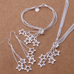 Wholesale 925 Stamped Silver Necklaces - Fashion Jewelry Set 925 Silver Star necklace & bracelet & earrings stamped 925 jewelry for women party gifts