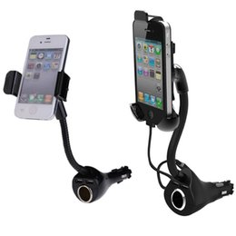 Wholesale Iphone Cigarette Charger Holder - Adjustable 360 Degree Rotation Car Charger Mount Holder Car Cigarette Lighter with Dual USB Ports for iPhone Samsung E#A3