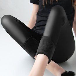 Wholesale Leather Leggings Size - Winter warm 100kg fat MM plus size women plus velvet solid color imitation leather high waist pants Leggings 6XL femme MZ1097