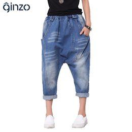 Wholesale Cropped Drop Crotch - Wholesale- Women's casual loose elastic waist harem cross pants Vintage patchwork washed denim drop crotch crop jeans Capri