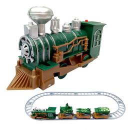 Wholesale Military Car Models - Railway train car cartoon toys small train military iron green cartoon model the best Christmas gift baby