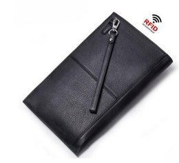 Wholesale Mens Rfid Wallets - RFID Blocking Genuine Leather Mens Wallet Brand Male Wallet Fashion Male Clutch Phone Card Holder Coin Purse Wallet Men Purse Money