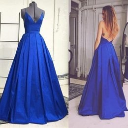 Wholesale Vintage V Neck Dress Guest - 2017 Royal Blue Sexy Evening Dresses Wear Satin Spaghetti Straps Deep V-neck Backless Prom Party Gowns Long Weddings Guest Dress