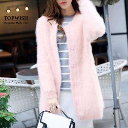 Wholesale Long Pure Cashmere Coat Women - Wholesale- 100% Genuine Mink Cashmere Coat Real Mink Cashmere Cardigans Nature Pure Mink Fur Sweaters Factory Customize Wholesale TFP910