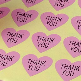 Wholesale wedding thank stickers - Wholesale THANK YOU heart design Sticker Labels Seals Gift stickers for Wedding seals,1200pcs lot