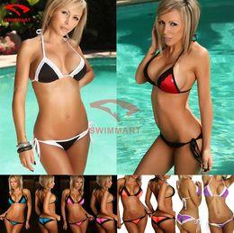 Wholesale Sexy Bikini Butts - Sexy Womens Swim Beach Wear Bikini Swimwear Suit Lace Splice Panelled Patchwork Pucker Butt Bra+G-string
