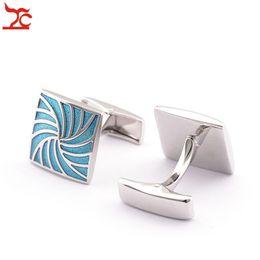 Wholesale Tin Cufflinks - Retail MNS Cuff links High Quality Blue Silver Swirl Shape Tie Bar Cufflinks Wedding Party Father's Day Gift Shirt Cufflinks