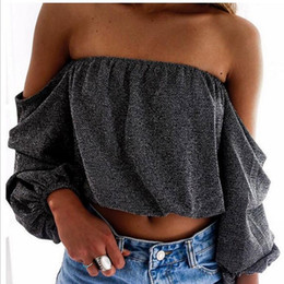 Wholesale Strapless Sleeved Shirt - Womens Long Sleeved Summer Sexy Casual Slash Neck Crop Tops Off the Shoulder Strapless Pullover Blouse Ladies T-Shirt Shirt Tee