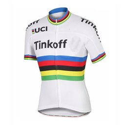 Wholesale Mountain Bike Tours - New Tinkoff Team men Cycling Jersey Short Sleeve shirt Tour de france Bicycle Clothing Mountain Bike clothes mtb maillot ciclismo C0211