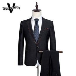 Wholesale Men Wool Suit Luxury - Wholesale- (Blazer+Pants) Terno Para Casamento Skinny Formal Business Suit Men One Button Luxury Wool Mens Wedding Tuxedos Suits S-3XL