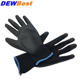 Wholesale Polyester Comfortable - Free shipping DEWBest 5 pairs Lightness comfortable polyester nylon work gloves cheap PU working safety gloves