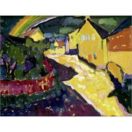 Arco-íris da lona da pintura a óleo on-line-Pinturas modernas de alta qualidade por Wassily Kandinsky Murnau com óleo de arco-íris na lona pintados à mão Home decor