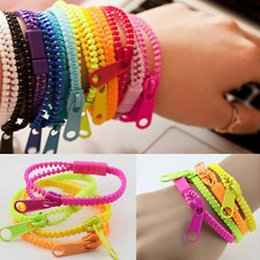 Wholesale Zipper Charms Wholesale - Wholesale- 10pcs lot 2015 New Zip Bracelet Wristband Dual & Single Color Metal Zipper Bracelet Fluorescent Neon Creative bracelet for women
