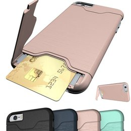 Wholesale Hid Shell - Stand Card Pocket Case Cover For iPhone 7 8 plus TPU Soft Hidden Kickstand Protective Shockproof Fiber Phone Shell