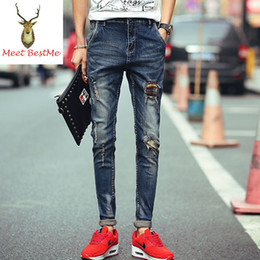 Wholesale Great Flying - Wholesale-Great Quality Patch Holes Skinny Jeans Men Full Length Slim Fit Jeans For Men 2016 New Fashion Men Denim Trousers Blue