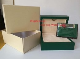 Wholesale Used Hand - New style Watch Box High Quality Greenl Box Papers Leather bag Gift card Boxes Hand bag For 116660 116610 116500 116520 use