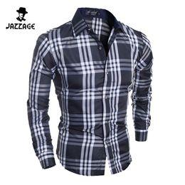 Wholesale Navy Striped Long Sleeve Dress - Wholesale- Men Shirt Long Sleeves 2016 Brand Shirts Men Casual Male Slim Fit Stripe Chemise Mens Camisas Dress Navy blue Shirts