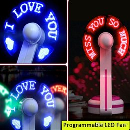 Wholesale Green Usb Mini Fan - usb desk fan usb programmable led fan usb mini led message fan with red green blue body and led colors recell packing