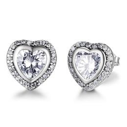 Wholesale Cubic Zirconia Clip Earrings - Brand New Classic 925 Sterling Silver Heart Shape Crystal Stud Earrings Simulated Diamond Earrings For Women