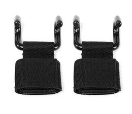 Wholesale Weight Lifting Wrist Support Hook - 2pcs set Black Power Double Lift Hooks Weight Lifting Bodybuilding Wrist Straps Support Chin Up Bar Strength Training equipment