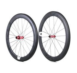 carbon clincher rad straße Rabatt EVO Carbon Rennradräder 60mm Tiefe 25mm Breite Vollcarbon Drahtreifen / Rohrradsatz mit Straight Pull Naben Anpassbares LOGO