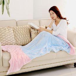 Wholesale Lap Bags - Soft Handmade Mermaid Tail Fleece Blanket for Kids Lap Throw Bed Wrap Fin Warm Cocoon Costume Girls Kids Children Sleeping Bag