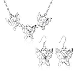 925 silberne schmetterlingshalsketten-sets online-heißer Verkauf Fünf Schmetterlinge Sterling Silber überzogene Schmuck-Sets für Frauen DS808, beliebte 925 Silber Halskette Armband Schmuck-Set