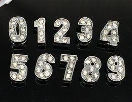 Números deslizantes de strass on-line-Atacado 8mm 100 pçs / lote 0-9 número strass encantos de slides diy acessórios fit para 8mm pulseira de couro chaveiros