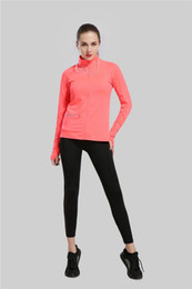 Wholesale Yoga Clothes Women - Women Sport Jackets For Female Long-sleeved Sweatshirt Clothes Running Fitness Yoga Outerwear Gym Jacket Red Color