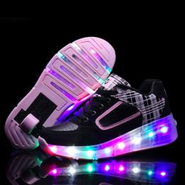 Wholesale Single Wheel Shoes - Wheel LED Shoes Roller Skates Men Single Shoe big Size Runaway Gift Glowing Luminous Light Up Illuminated Zapatillas Luces