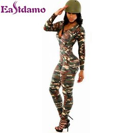 Wholesale Long Sleeve Bodysuit Catsuit Jumpsuits - Wholesale- Long Sleeve Rompers Womens Jumpsuit Army Soldier Catsuit Camouflage Bodycon Jumpsuit Plus Size Jumpsuits And Rompers Bodysuit