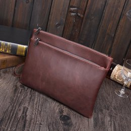 Wholesale Mens Cell Phone Bags - New Elegant Pu Leather Envelope Men Casual Bags Large Capacity Mens Clutches Wristlet Handbag Bag Pouch A4 document briefcase handbag