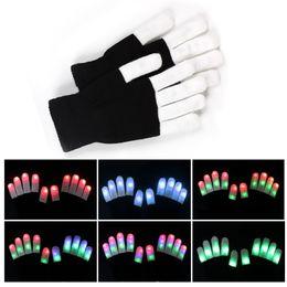 2019 collegare l'altoparlante Guanti Flash LED regalo Five Fingers Light Ghost Dance Black Bar Stage Performance colorato Rave Light Finger Lighting Guanti Bagliore lampeggiante